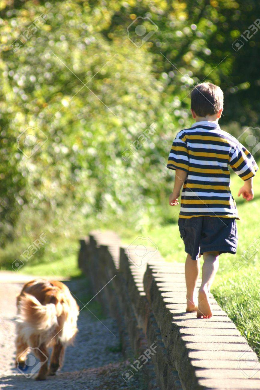 Boy Walking with Dog Stock Photo - 575100