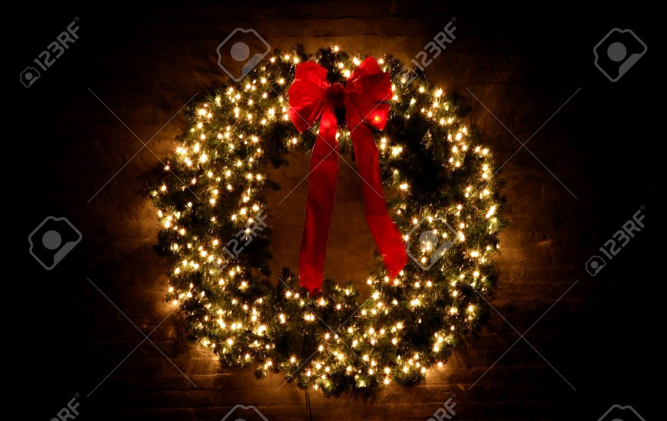 Christmas Wreath With Lights Stock Photo Picture And Royalty Free