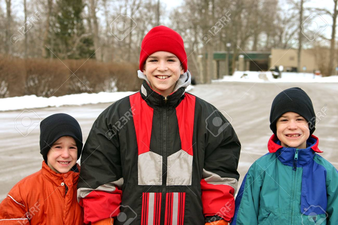 Boys Outside in Winter Stock Photo - 778972