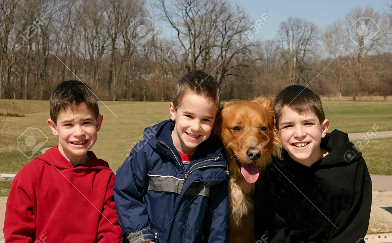 Boys and the Dog Stock Photo - 1575416