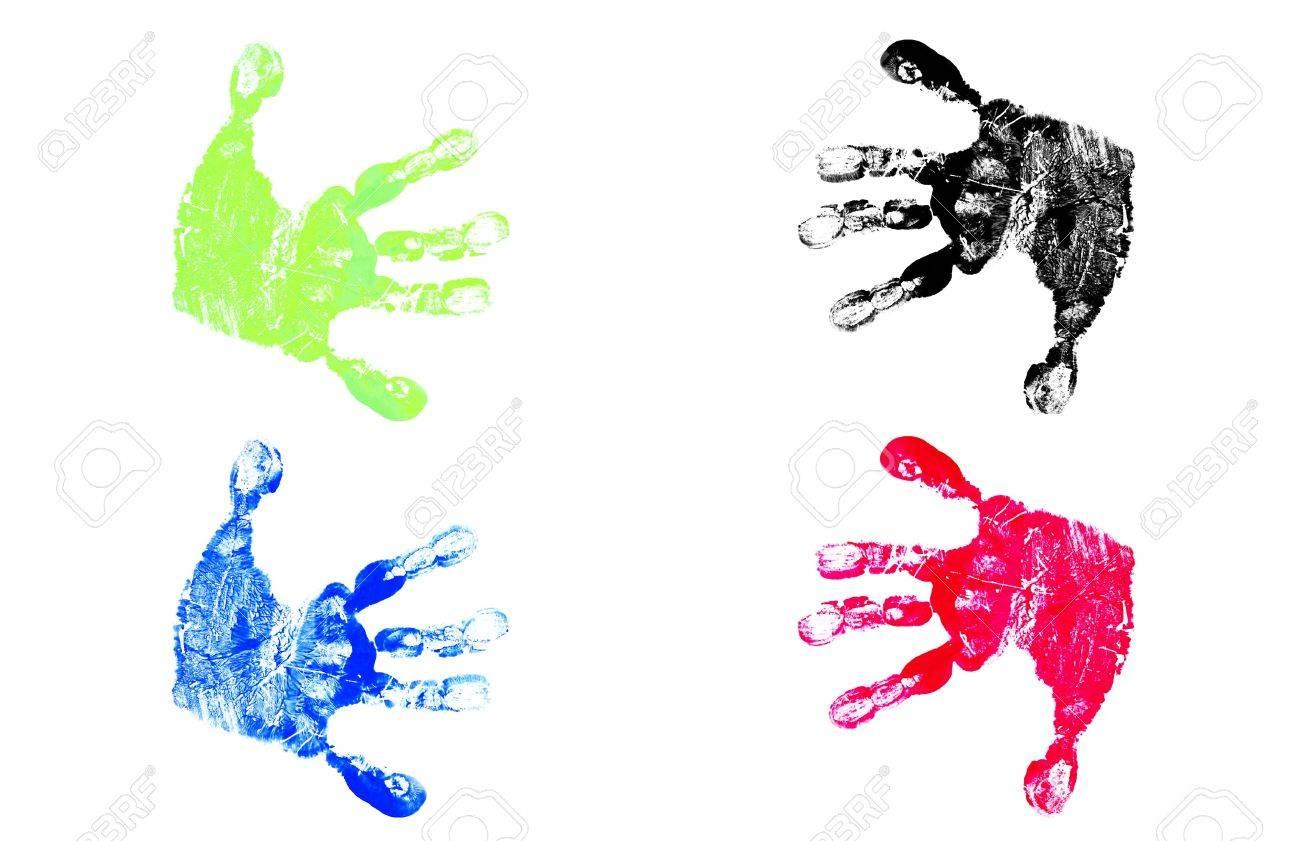 Children's Hand Prints Stock Photo - 3072702
