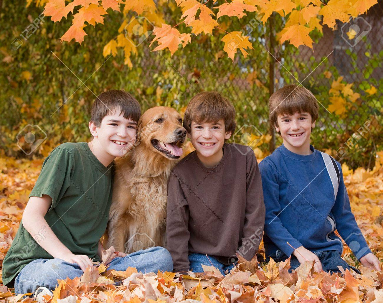 Boys in the Fall Leaves - 5807401