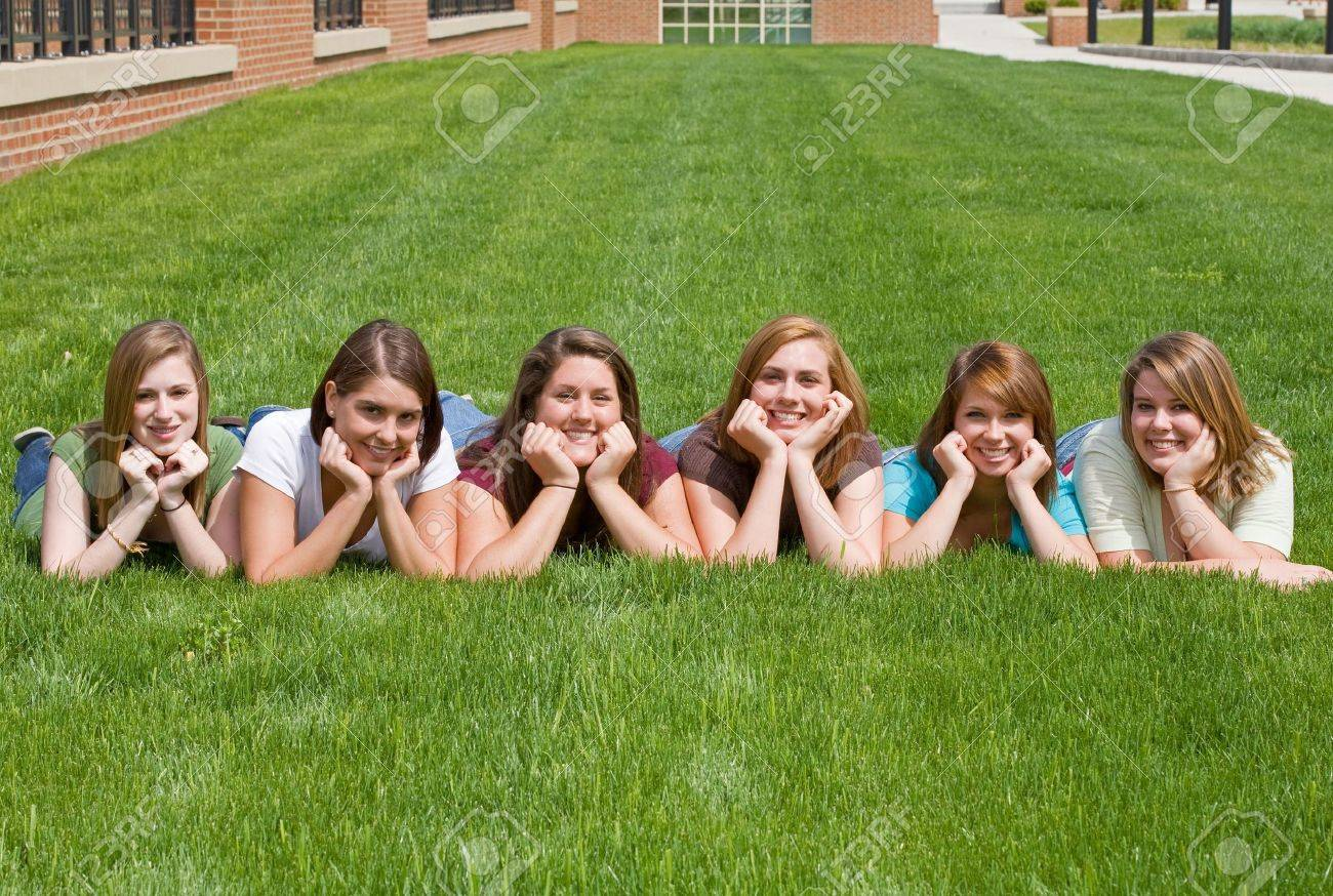 Group of College Girls at School Stock Photo - 5931368