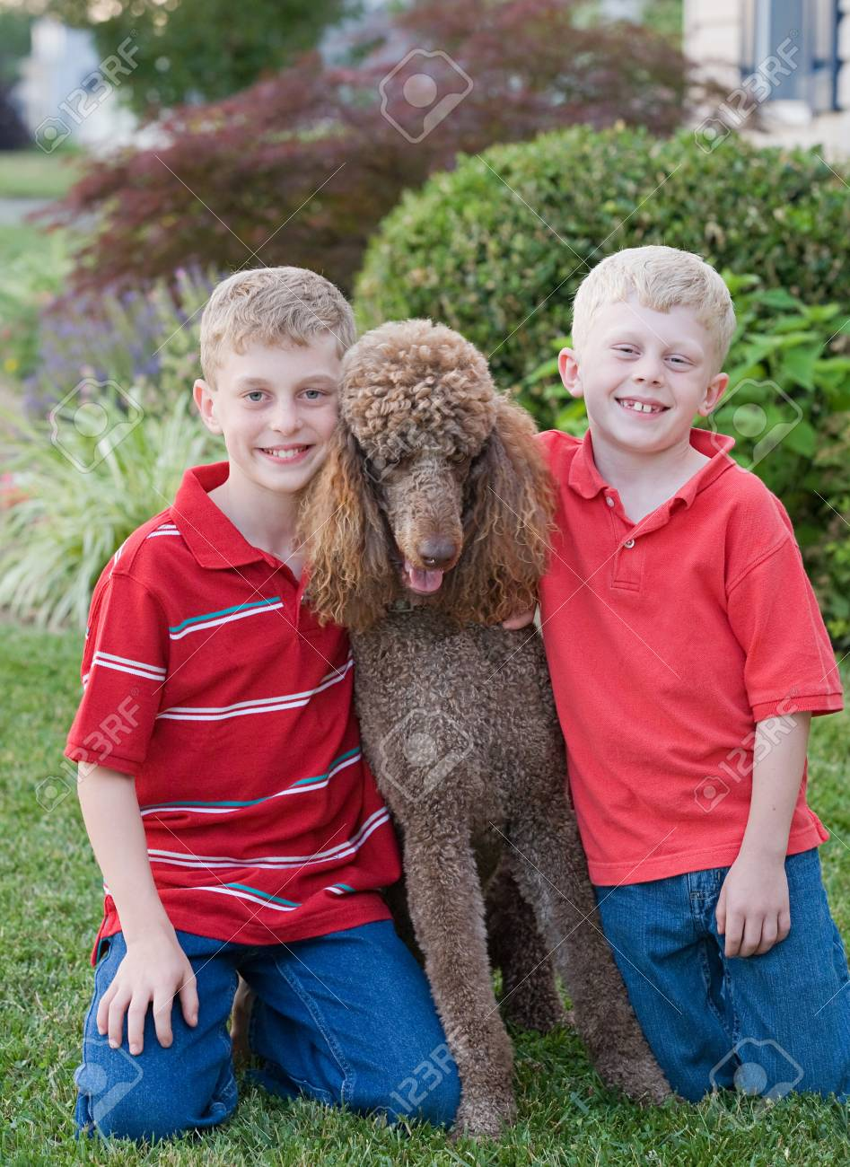 Brothers With Their Standard Poodle Stock Photo - 7538940