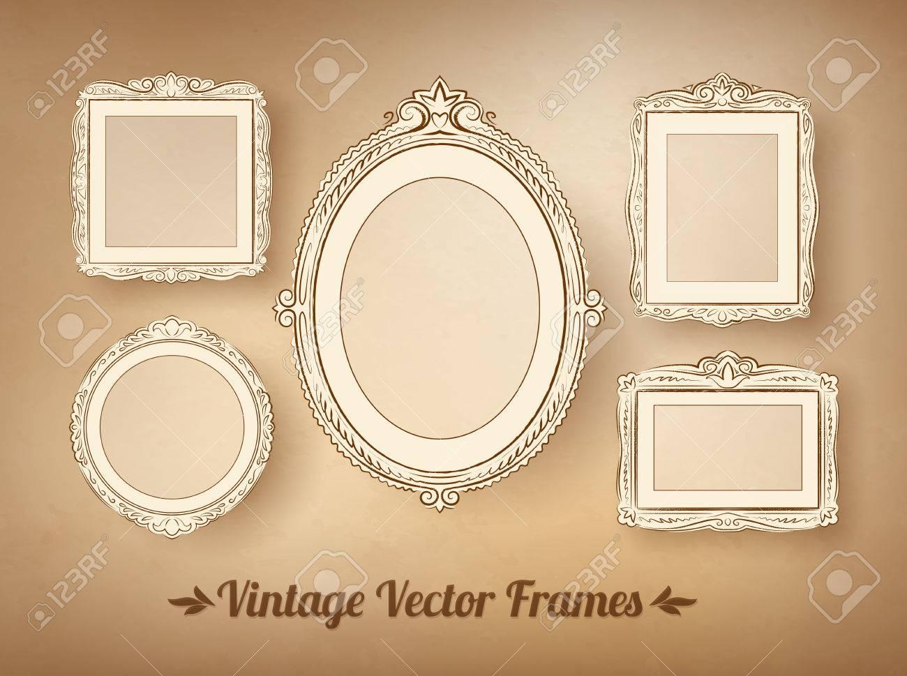 Vintage Baroque Frames Vector Set. Royalty Free Cliparts, Vectors ...