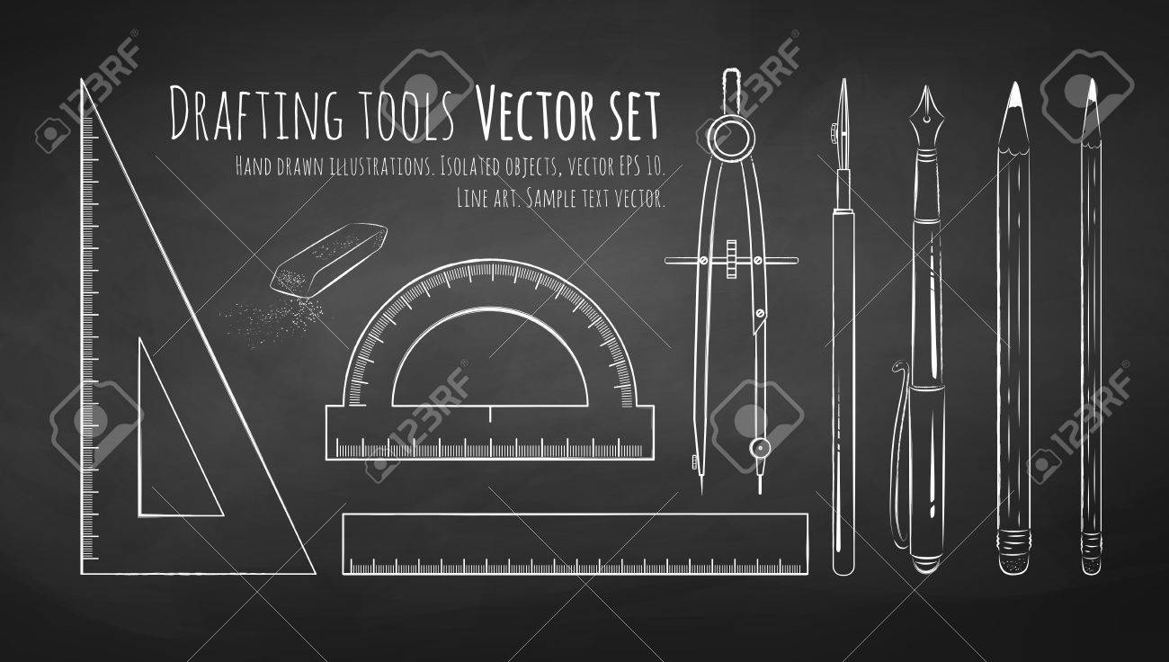 Chalkboard Drawing Of Drafting Tools. Royalty Free Cliparts, Vectors ...