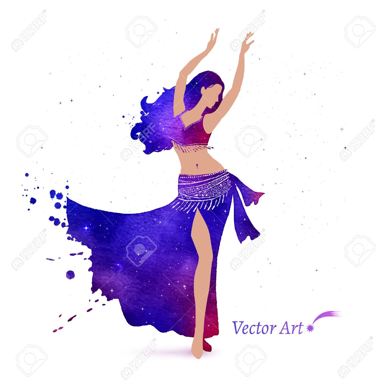 3064eb922c38 Belly dancer with space pattern on dress. Watercolor art. Stock Vector -  38327091