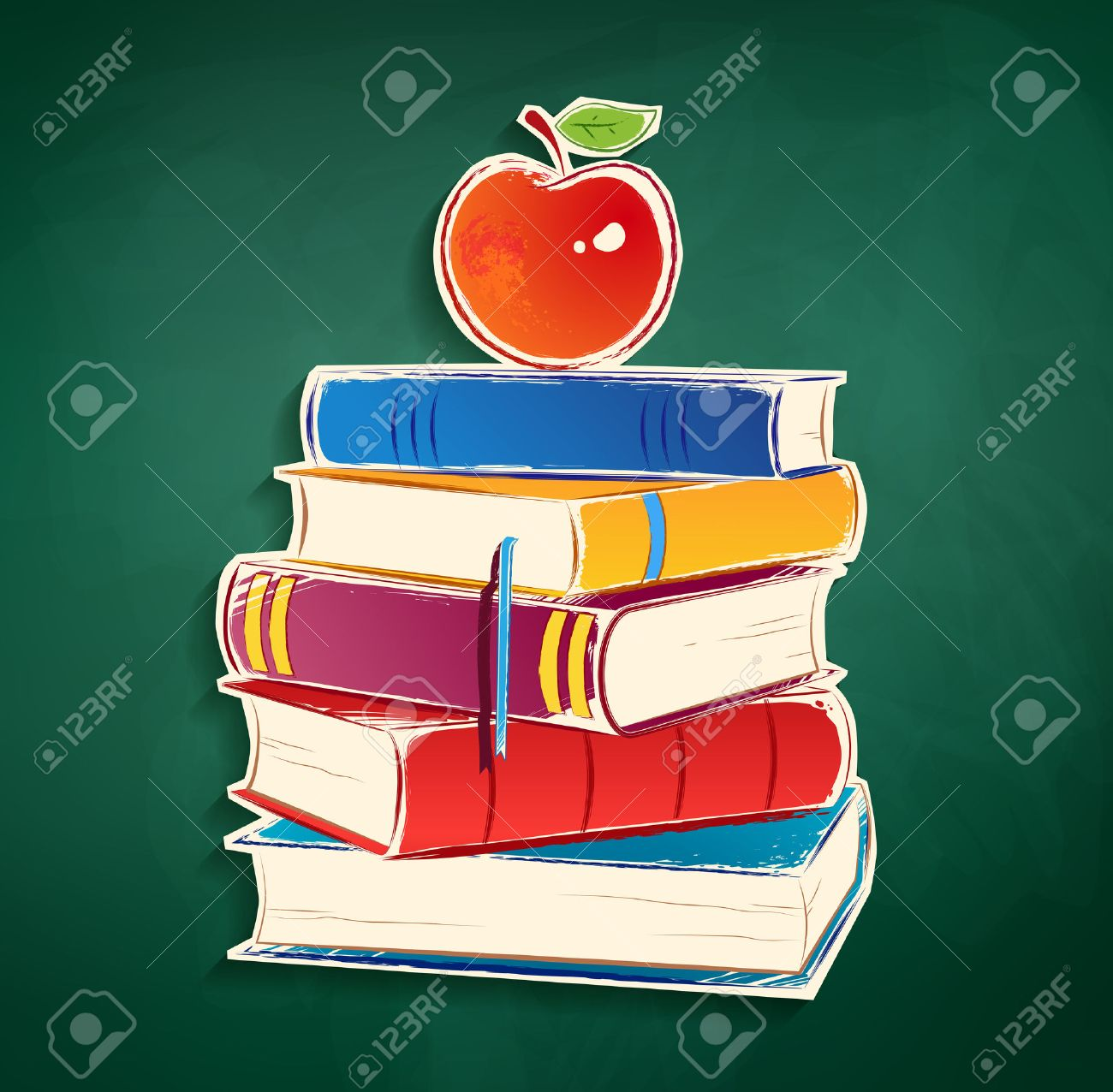 Sticker With Pile Of Books And Apple On Green Chalkboard Background Stock Vector