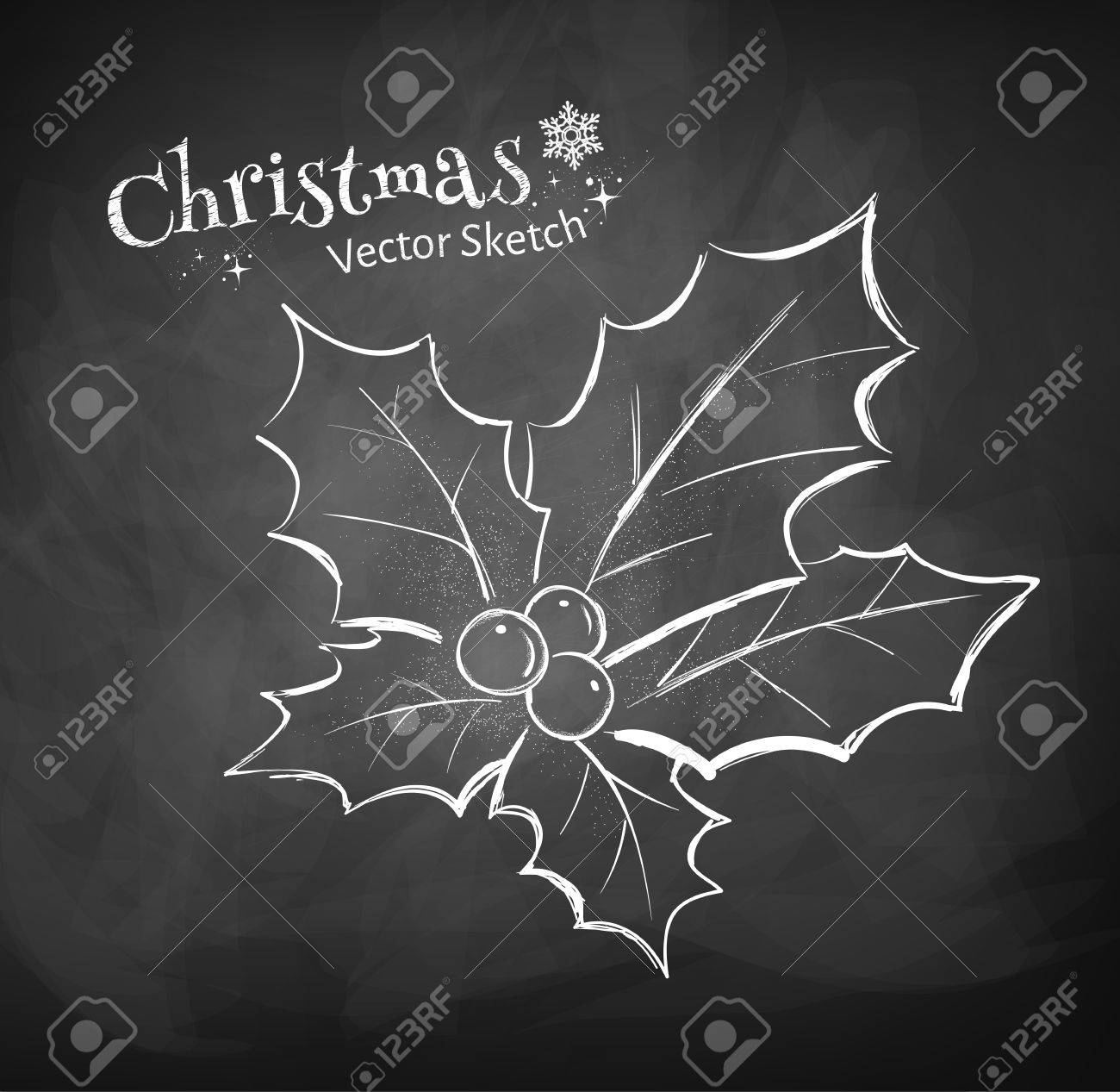 chalkboard drawing of christmas holly royalty free cliparts