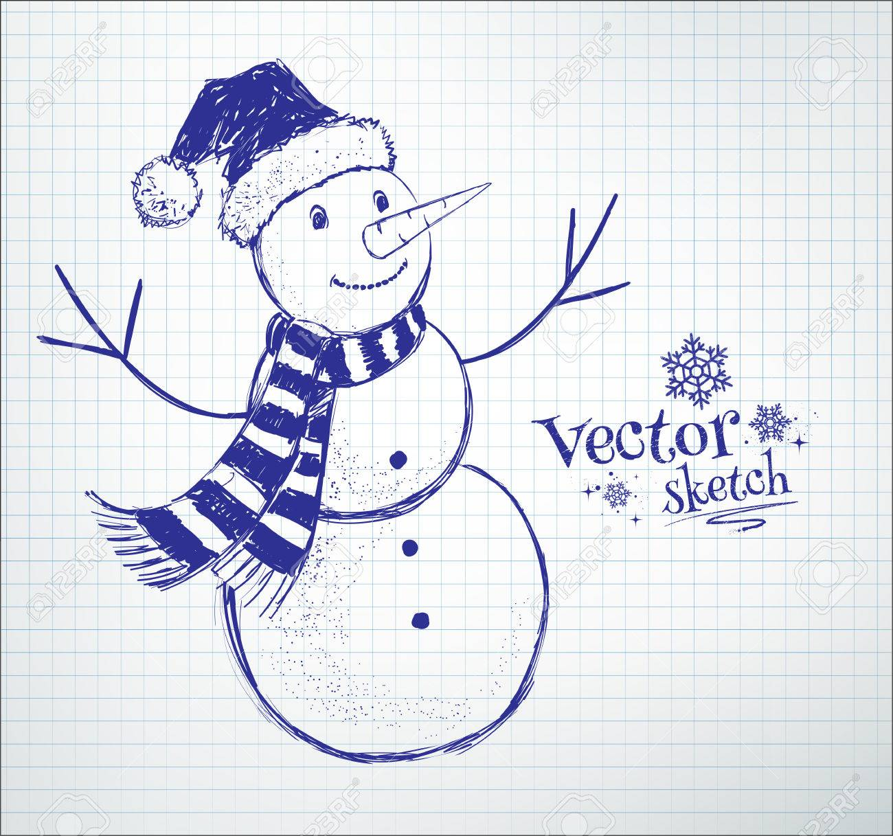 cute snowman drawn on checkered school notebook paper background