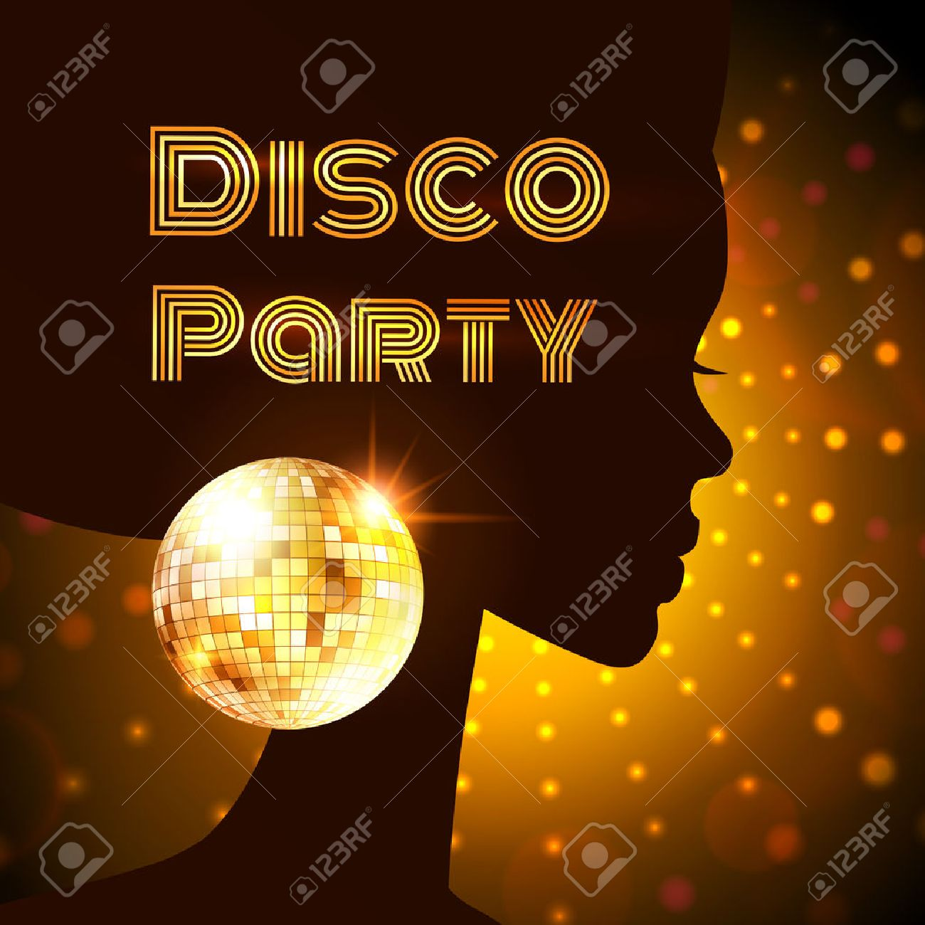 Disco Party Invitation Template With Silhouette Of A Girl. Royalty ...