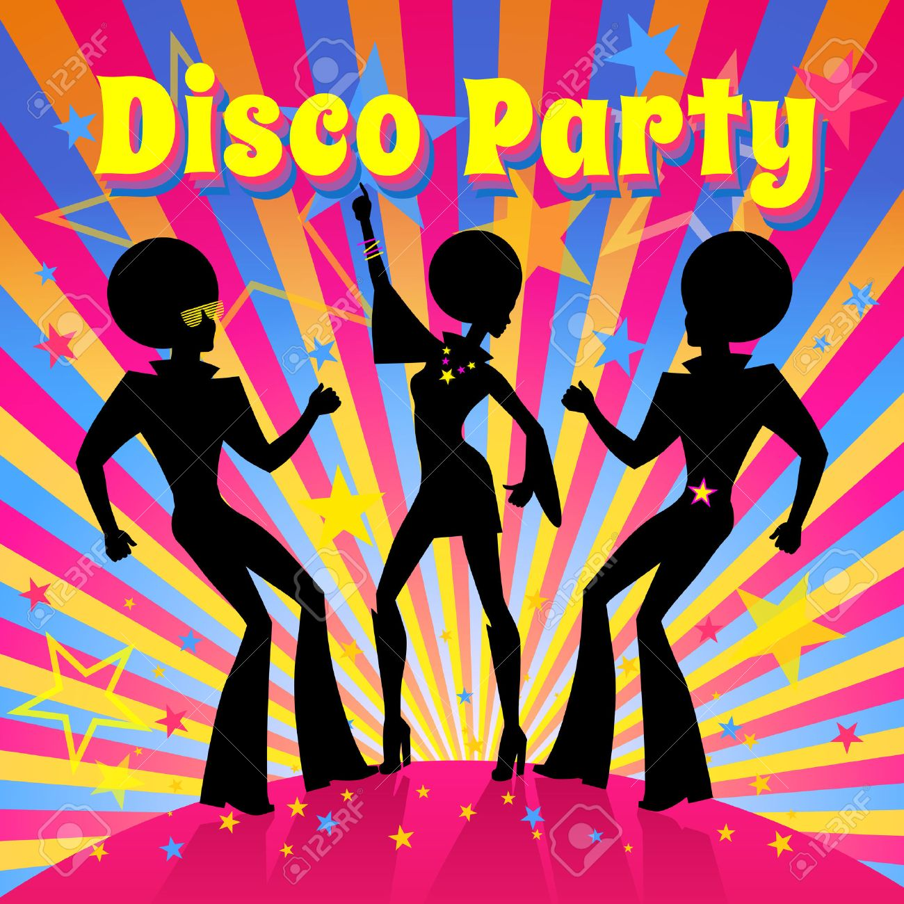 Disco Party Invitation Template With Silhouette Of A Dancing ...