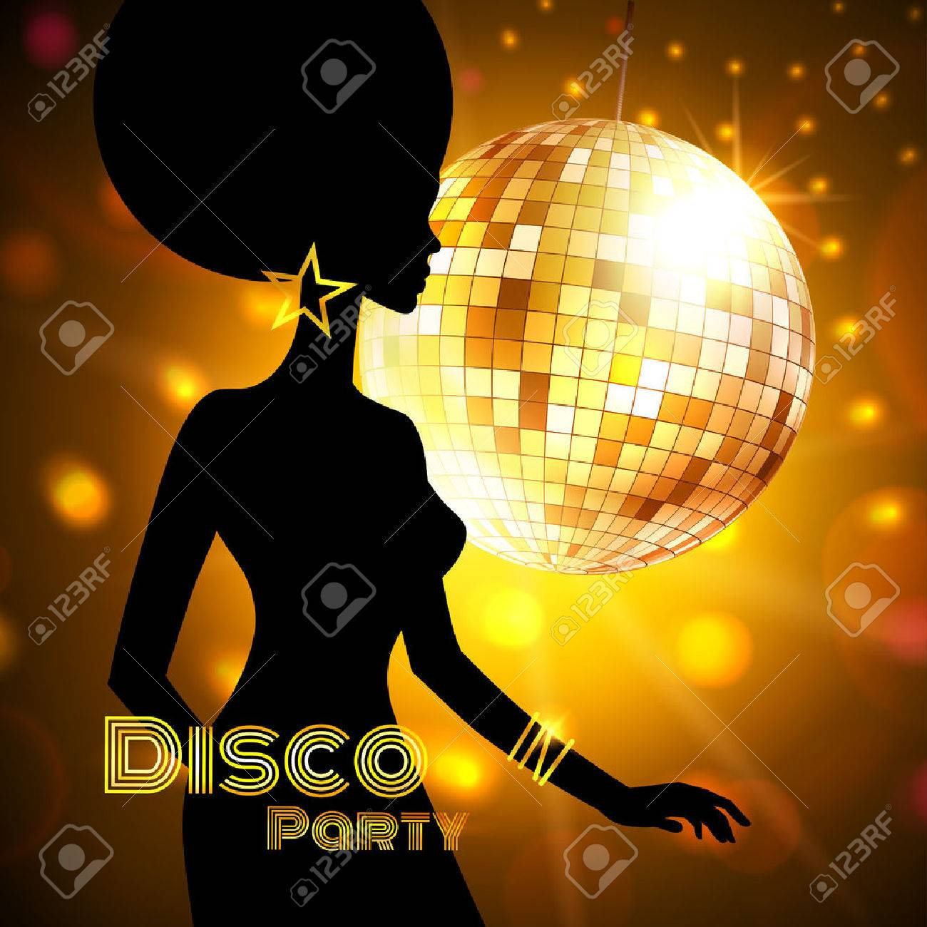 Disco Party invitation template with silhouette of a girl. - 38389510