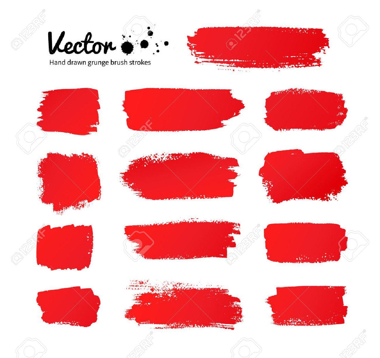 Vector grunge red paint brush strokes. - 39809595