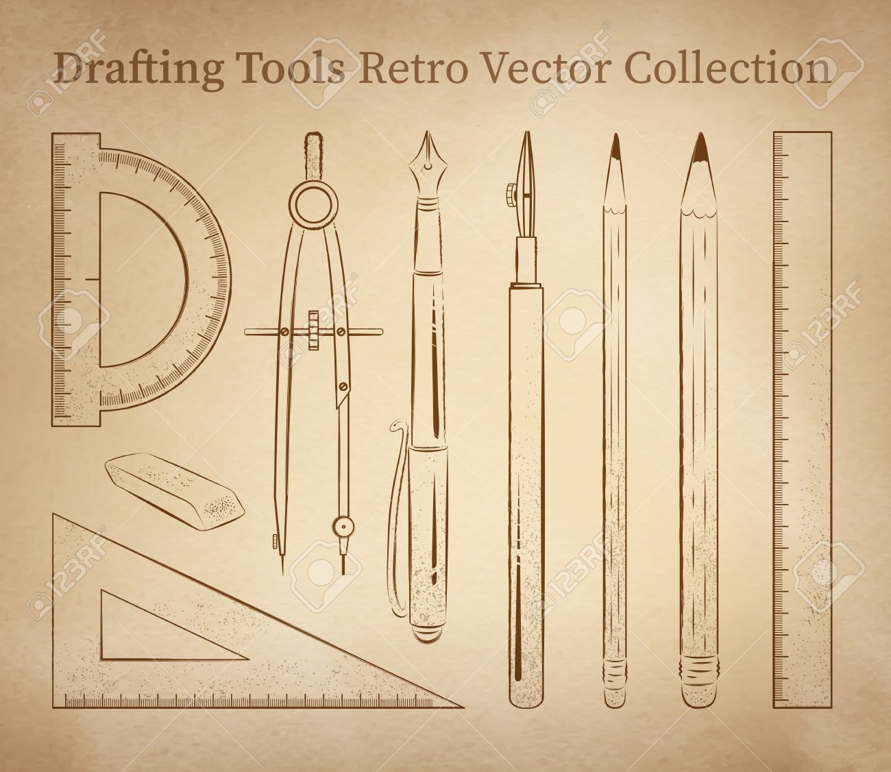 Drafting Tools Hand Drawn Vector Set On Vintage Old Paper Background ...