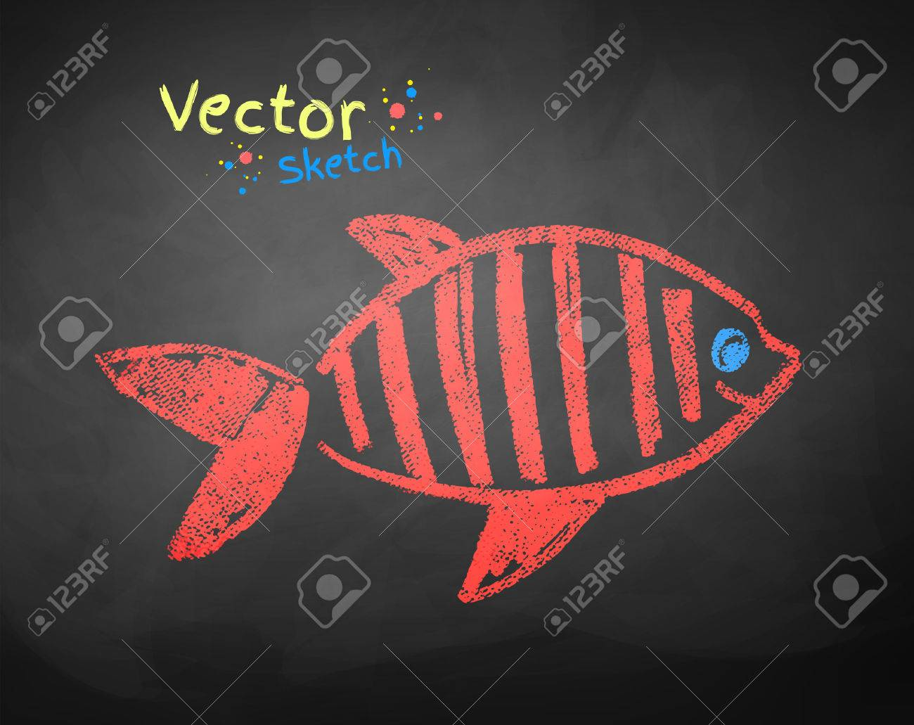 Kids Color Chalked Drawing Of Fish On School Blackboard Background ...