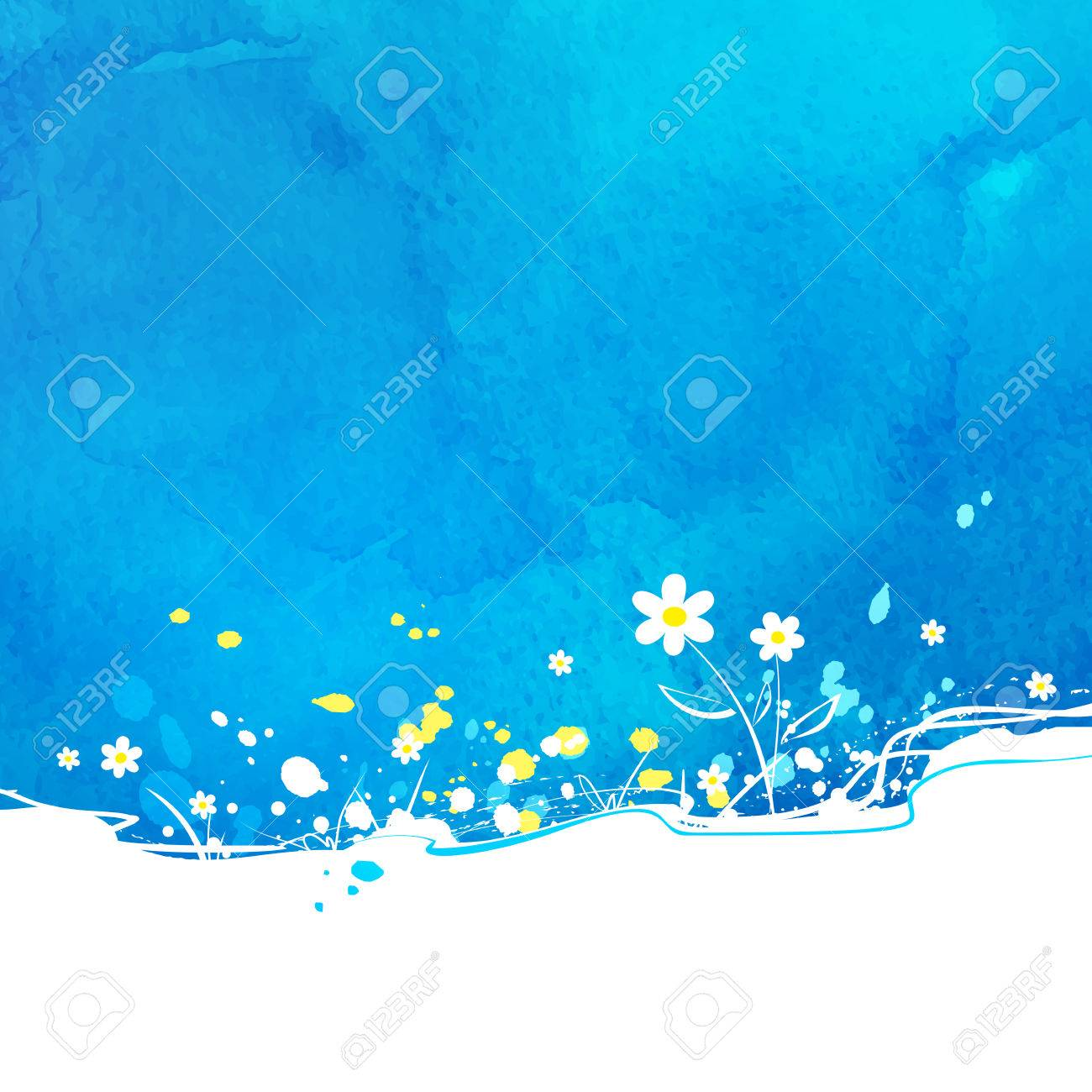 Blue vector background with flowers and watercolor texture. - 43123794