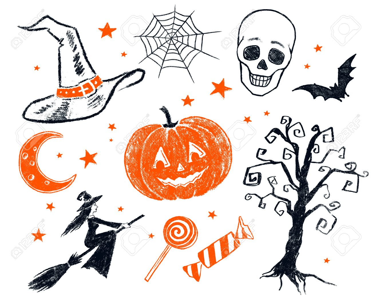 Collection Of Two Color Black And Orange Pencil Drawing Of Halloween