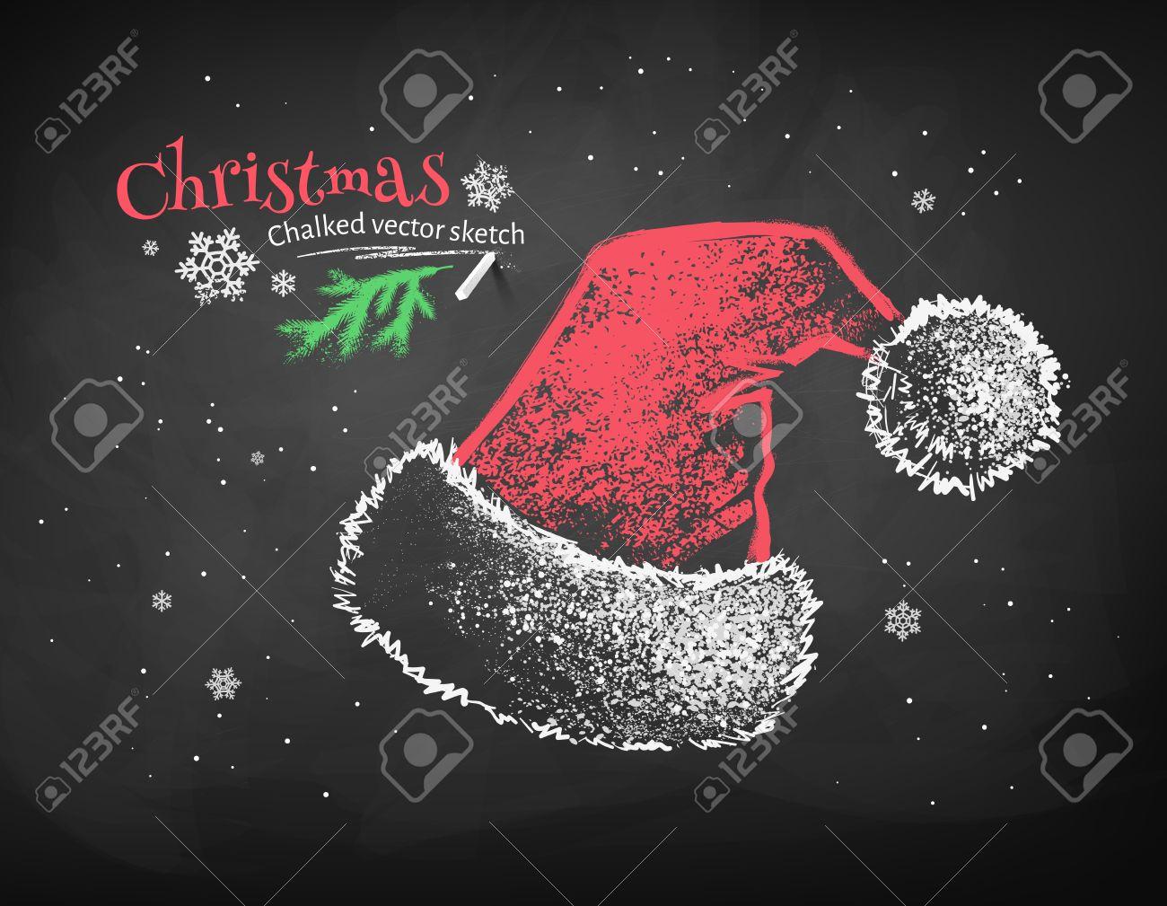Banque dimages , Couleur craie vecteur croquis de rouge chapeau de Père Noël sur le noir tableau arrière,plan.
