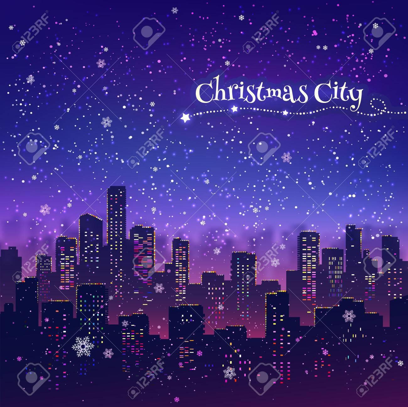 夜の街並みはクリスマスの背景に雪が降るライトのイラスト素材