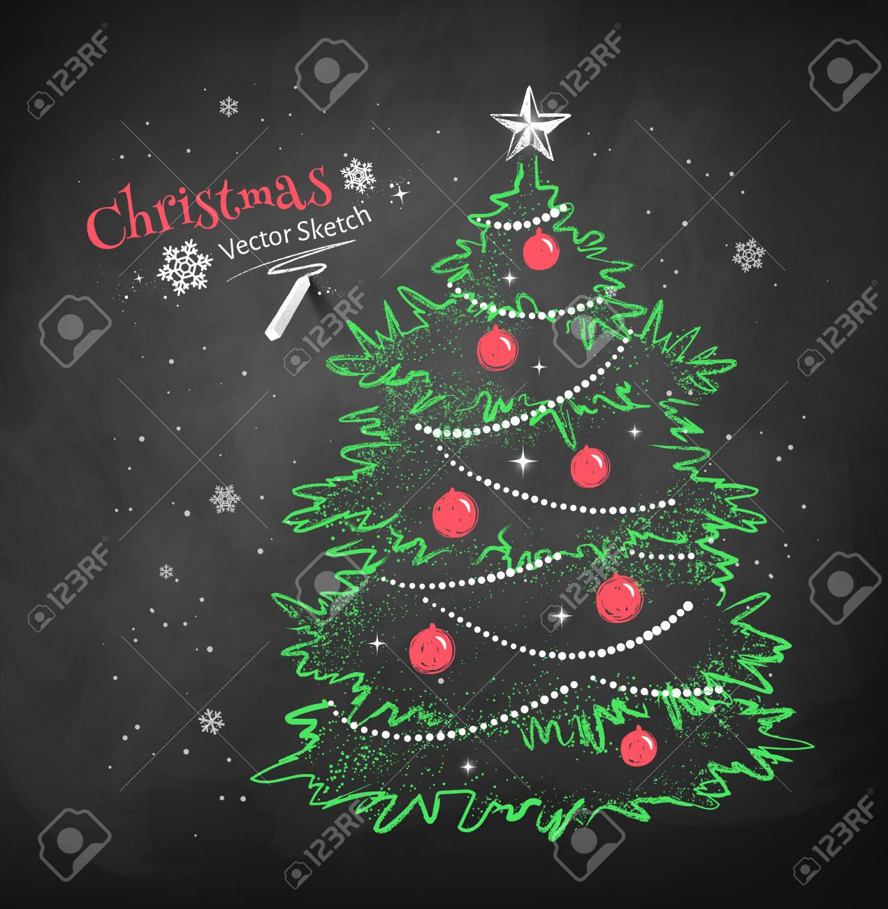 Color Chalk Vector Sketch Of Christmas Tree Decorated With Balls ...