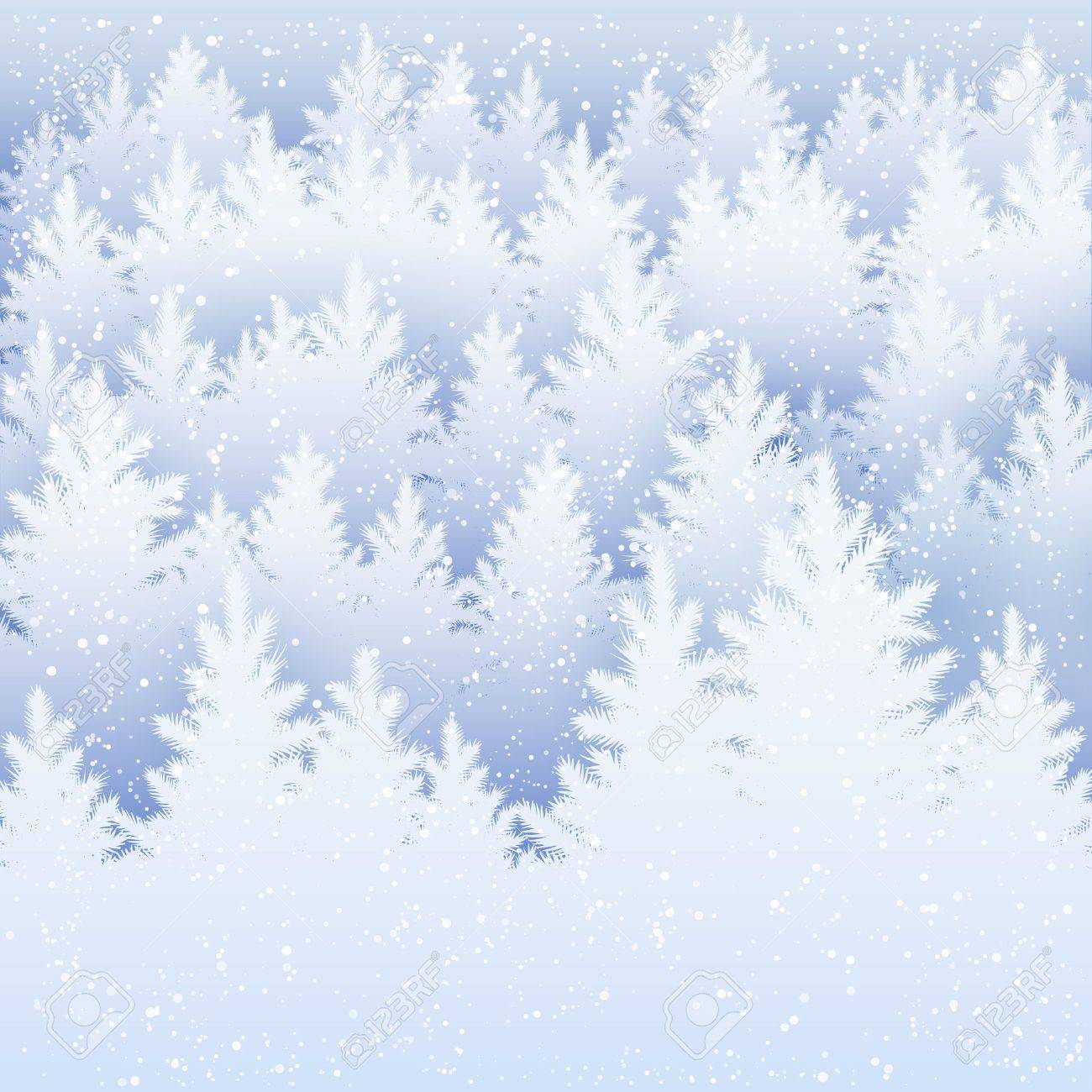 Vector Christmas background with winter spruce forest silhouette and falling snow. - 49165023