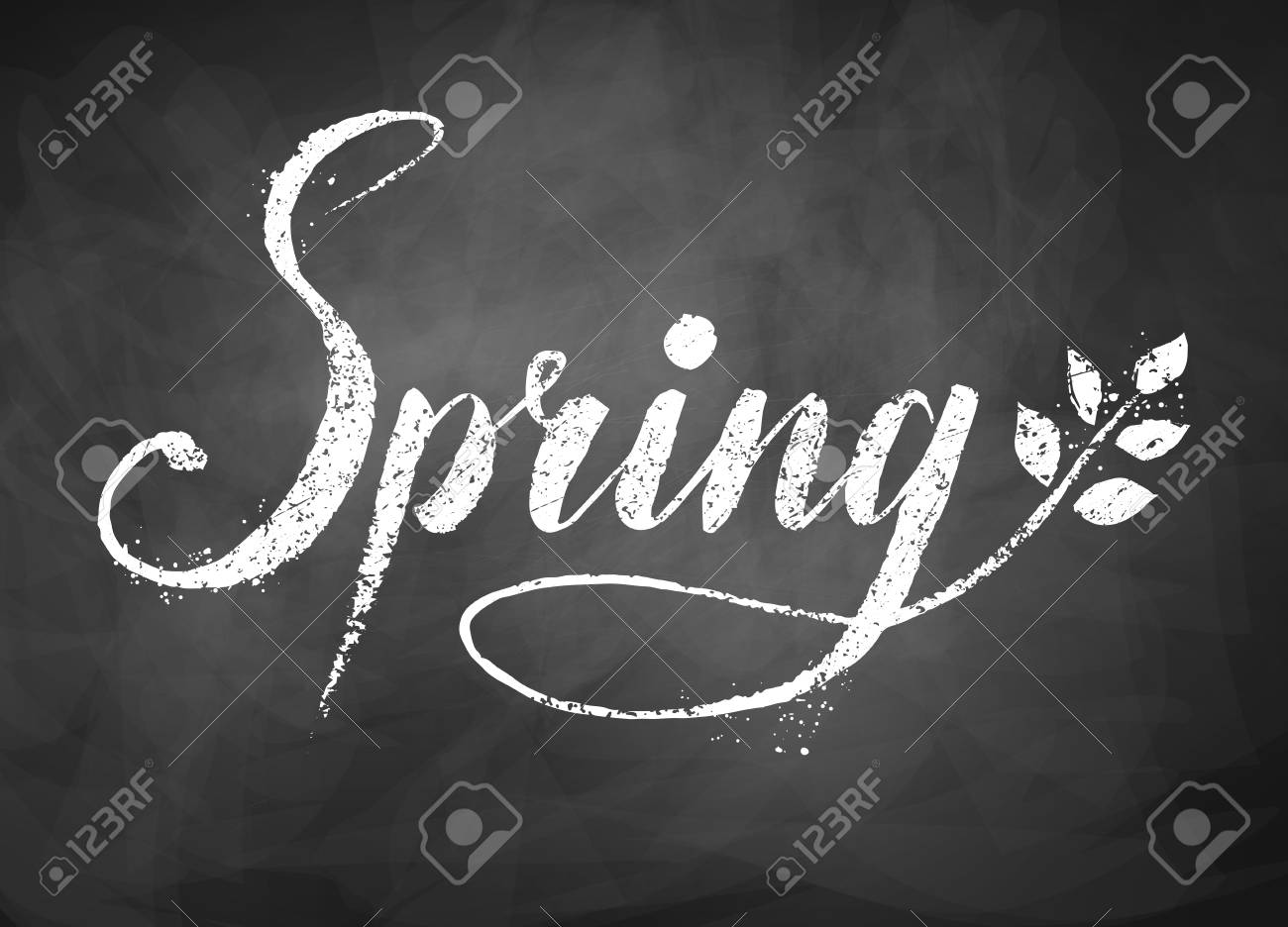 Spring Word Grunge Chalked Lettering On Black Chalkboard Background With Tree Branch And Leaves Stock