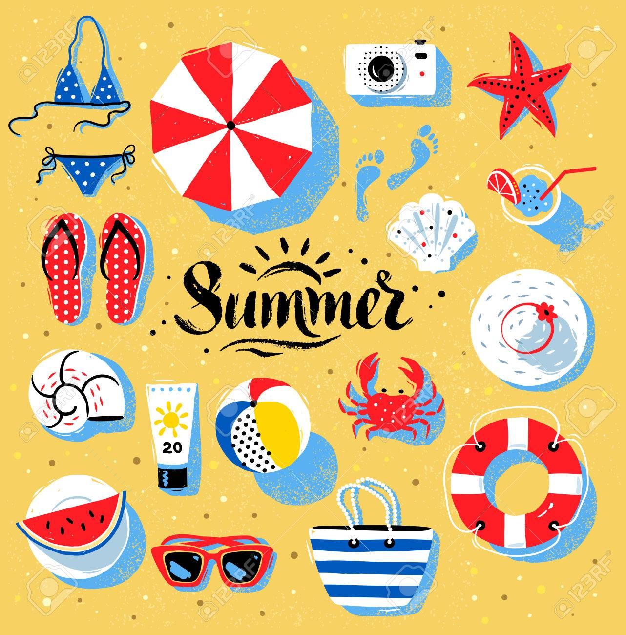 ベクトル夏トップ表示するイラスト砂浜背景に夏単語文字で設定の