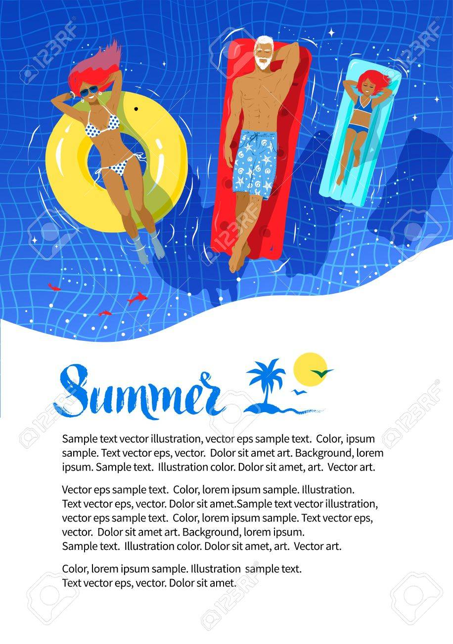 summer vacation flyer design with happy family floating on rubber