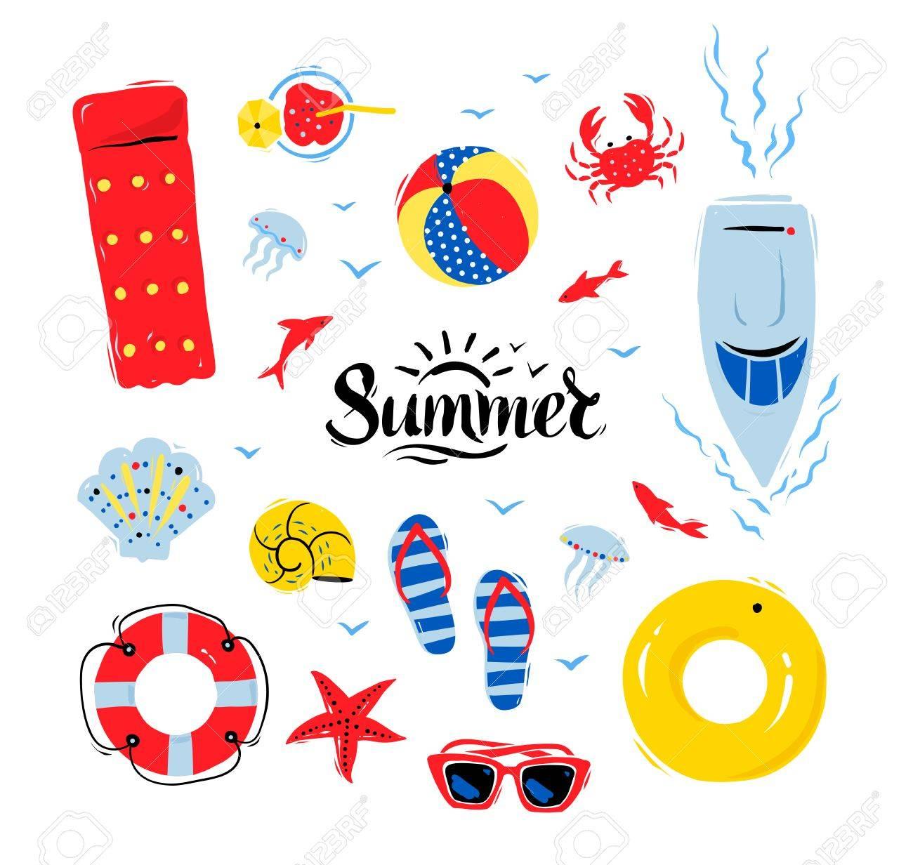 ベクトル夏トップ表示するイラスト白い背景の上の夏単語文字設定の