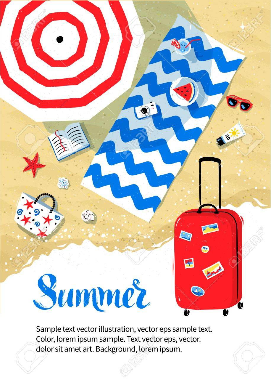 summer vacation flyer design with top view of parasol and beach