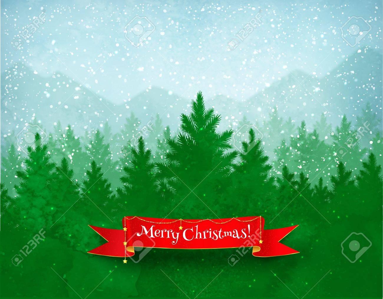 Weihnachten Landschaft Hintergrund Mit Fallendem Schnee, Grün ...