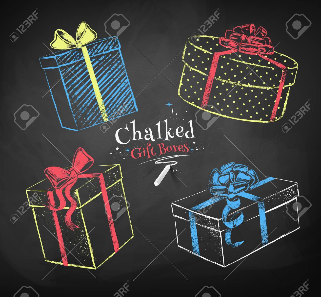 Color Chalk Sketches Of Gift Boxes On Black Chalkboard Background Stock Vector