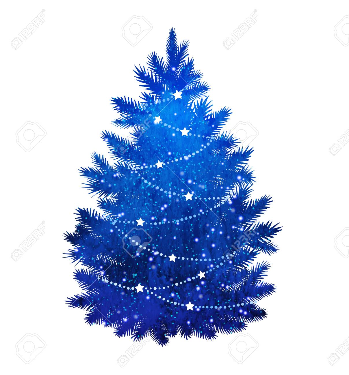 Christmas Tree Clipart Silhouette.Blue Silhouette Of Christmas Tree On White Background