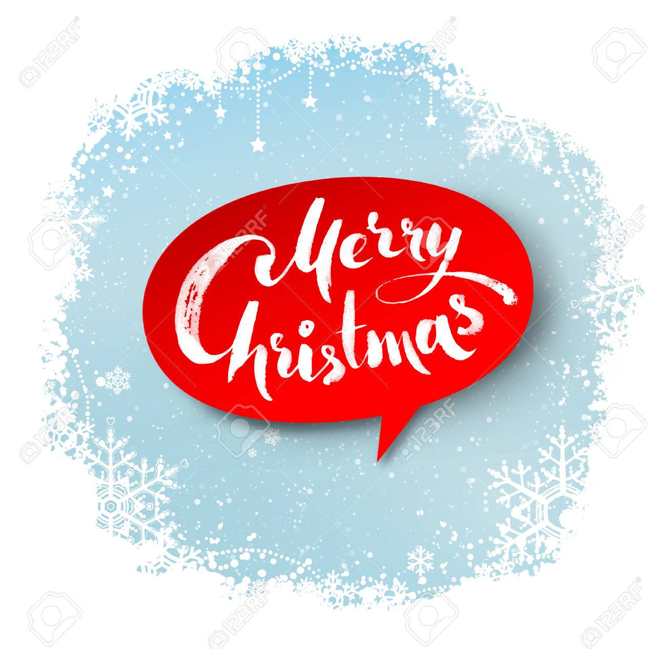 merry christmas hand written letters on red bubble banner and winter snowflakes border background stock