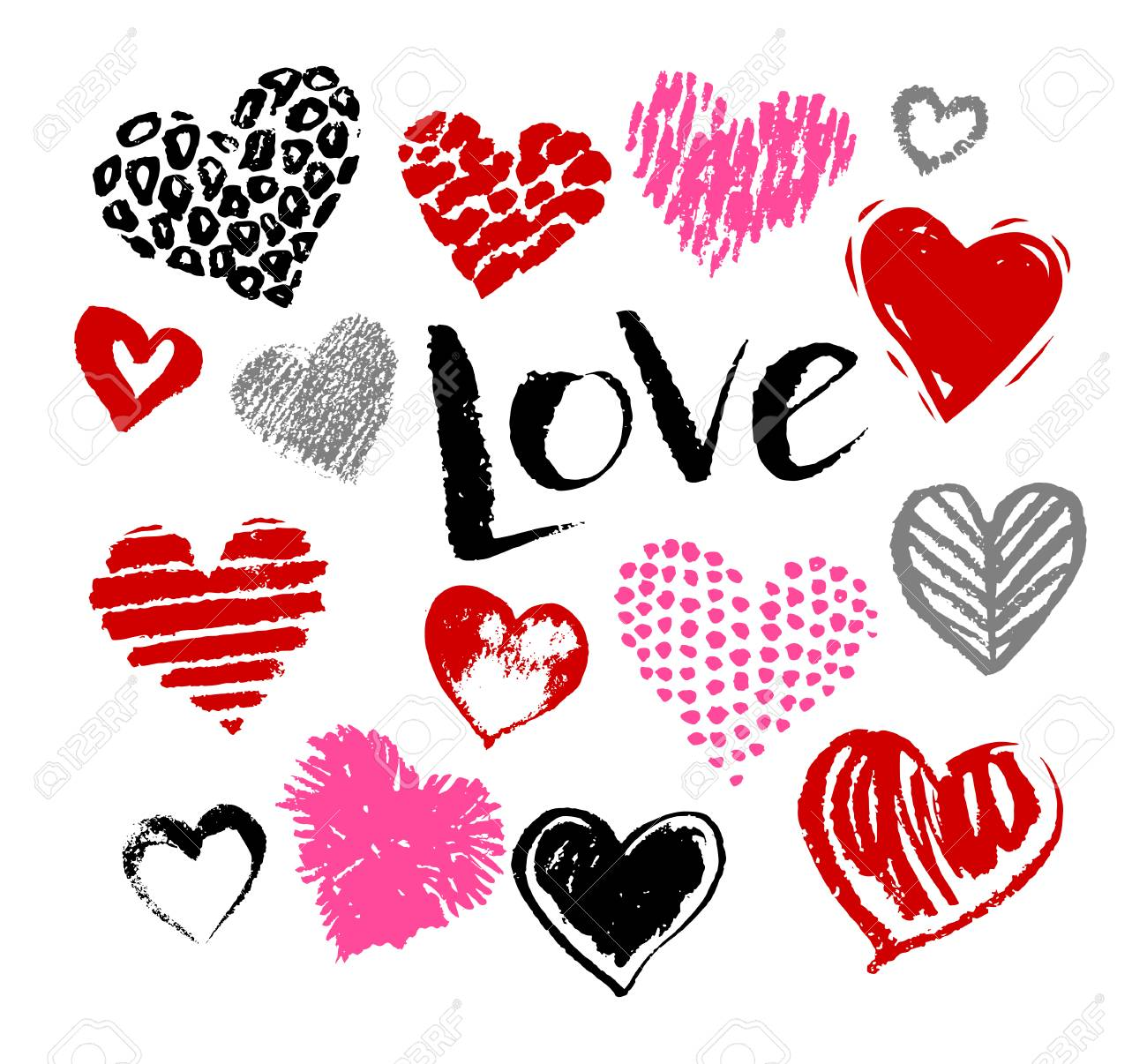 Stock Photo Vector Hand Drawn Collection Of Grunge Valentine Hearts On White Background With Love Word Lettering