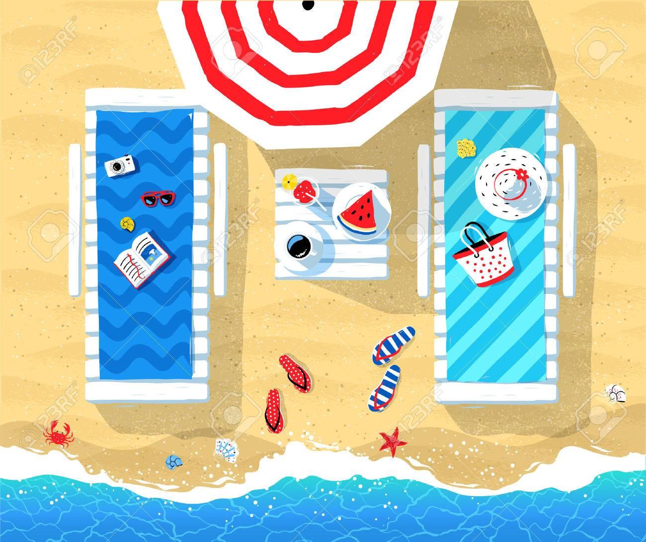 Summer vector illustration of sun beds Banque d'images - 78457149