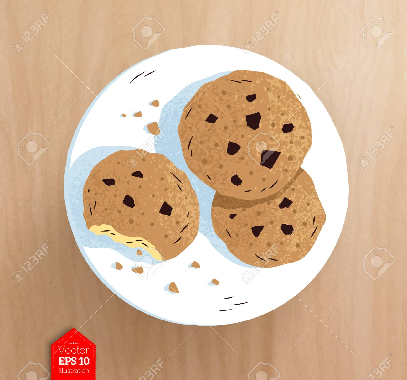 Top view illustration of cookies on plate - 88089616