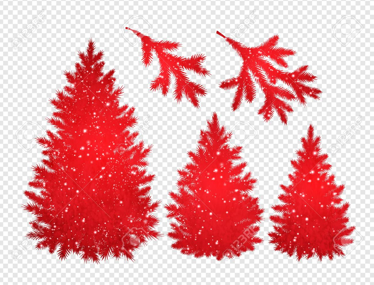Collection Of Red Christmas Trees And Branches In Transparent Royalty Free Cliparts Vectors And Stock Illustration Image 90953997