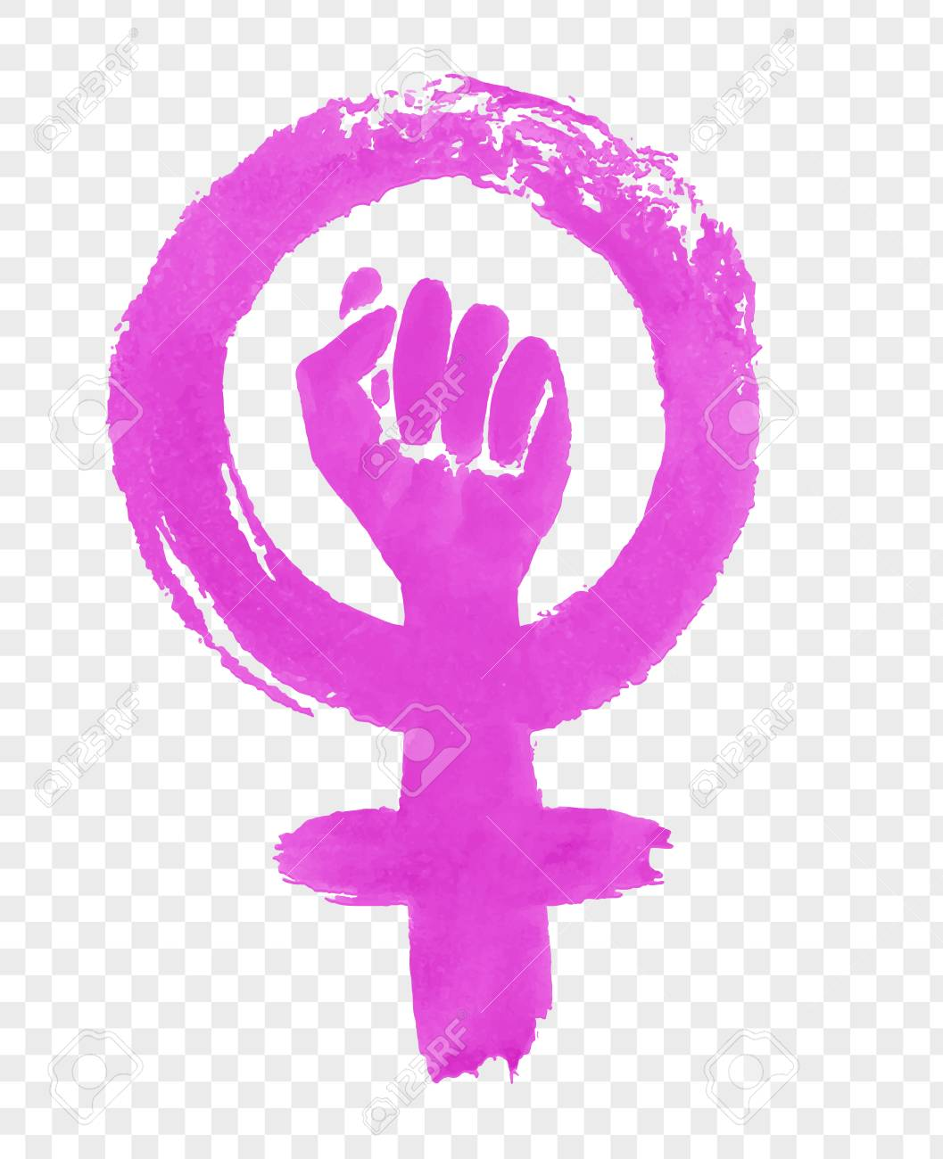 Hand drawn illustration of Feminism protest symbol - 95586543