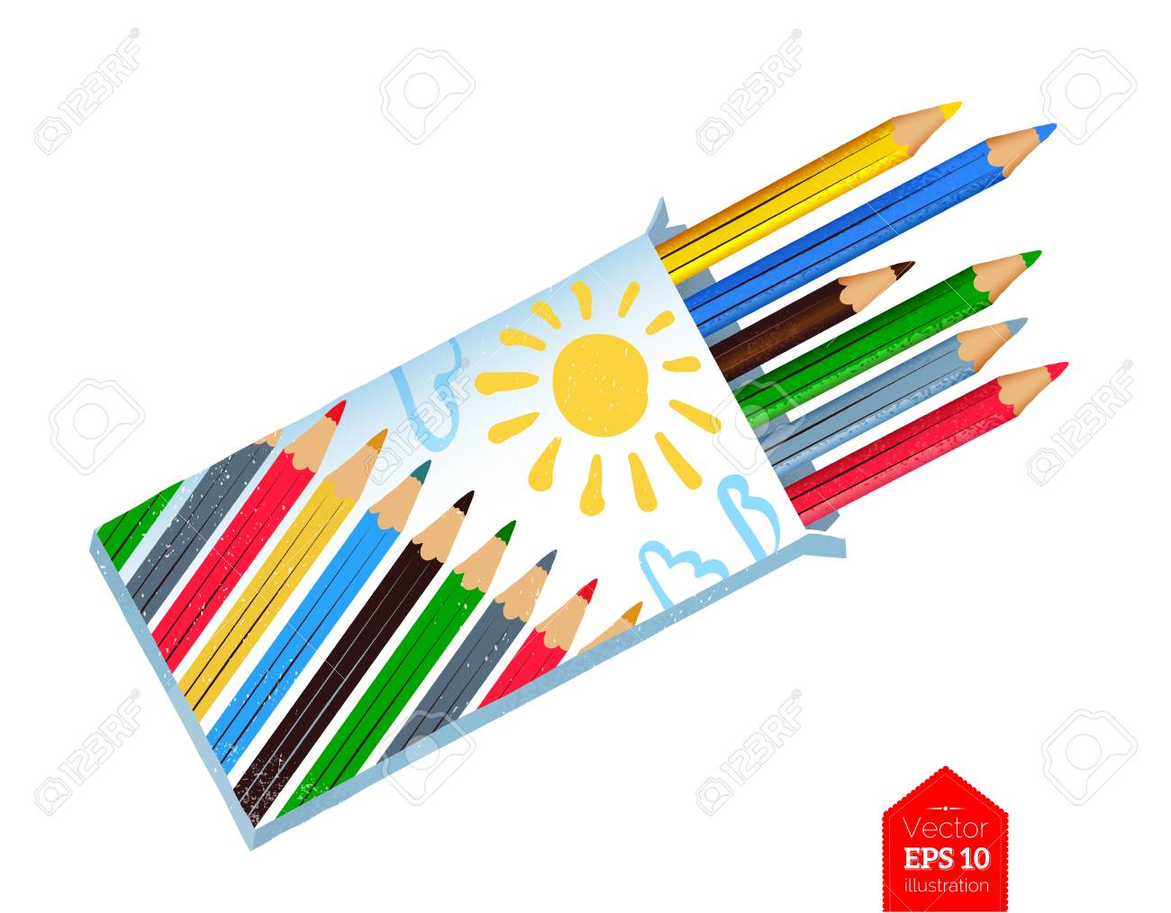 Top view illustration of color pencils - 100068649