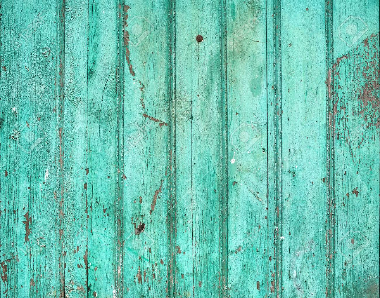 Old Rustic Painted Cracky Green Turqouise Wooden Texture Or Background Stock Photo