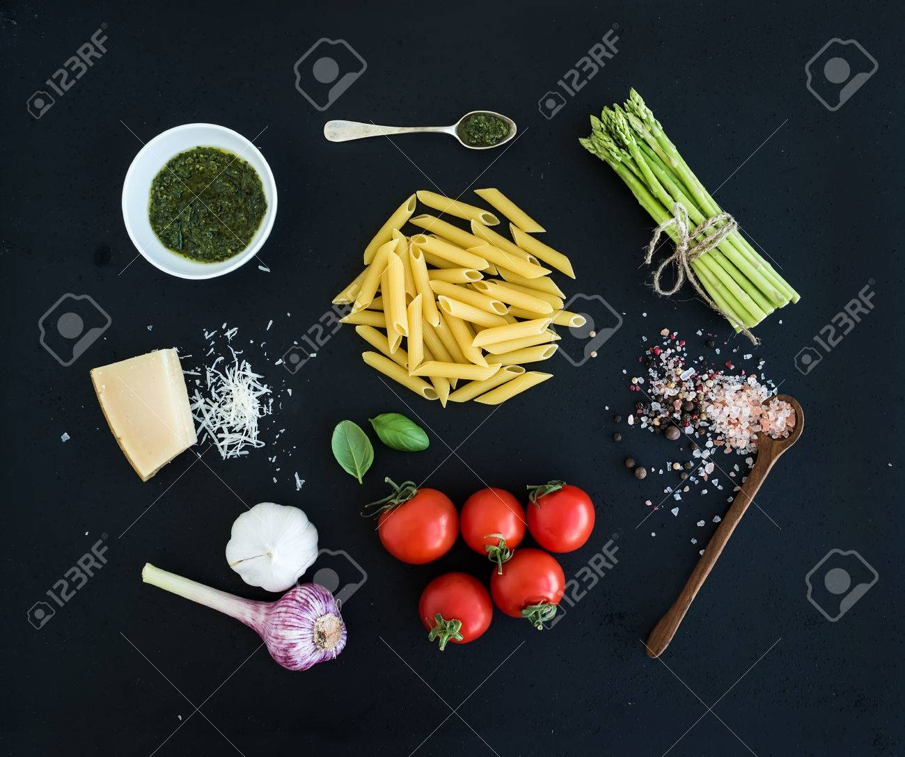 Ingredients for cooking pasta penne green asparagus basil ingredients for cooking pasta penne green asparagus basil pesto sauce garlic ccuart Image collections