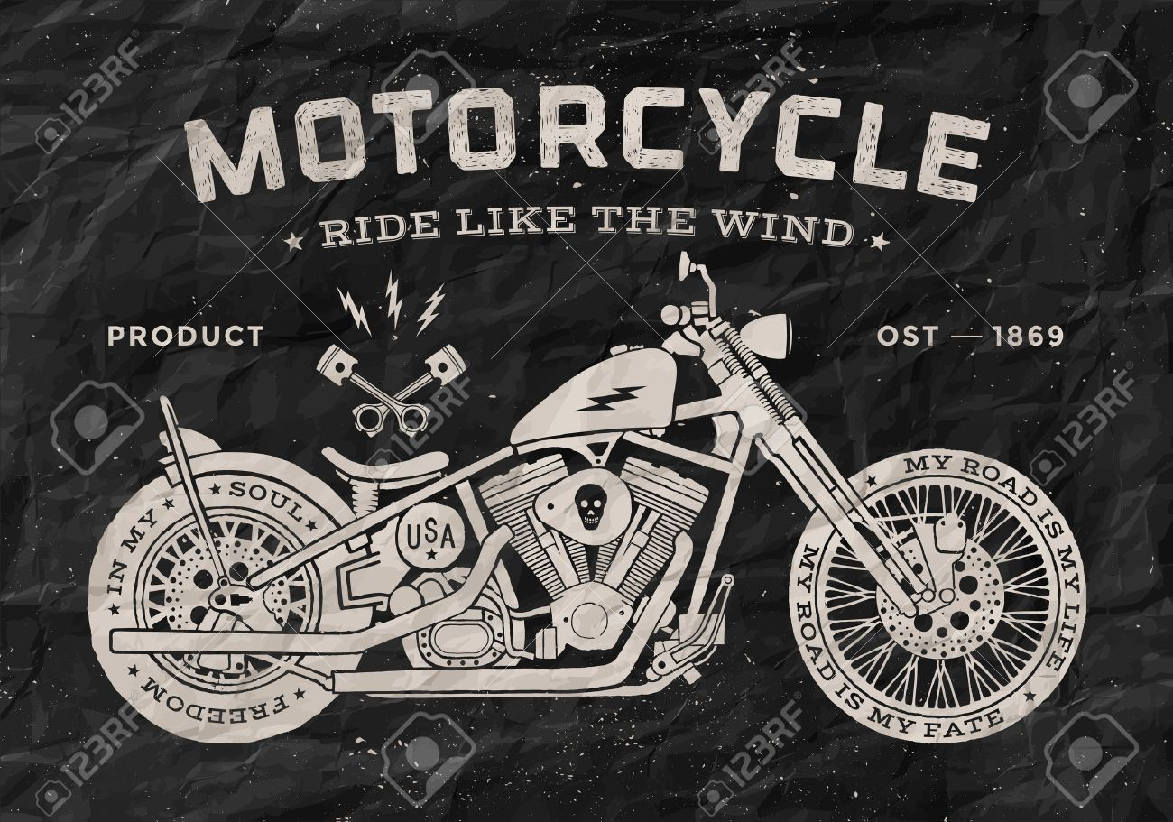 Vintage Race Motorcycle Old School Style. Black And White Poster ...
