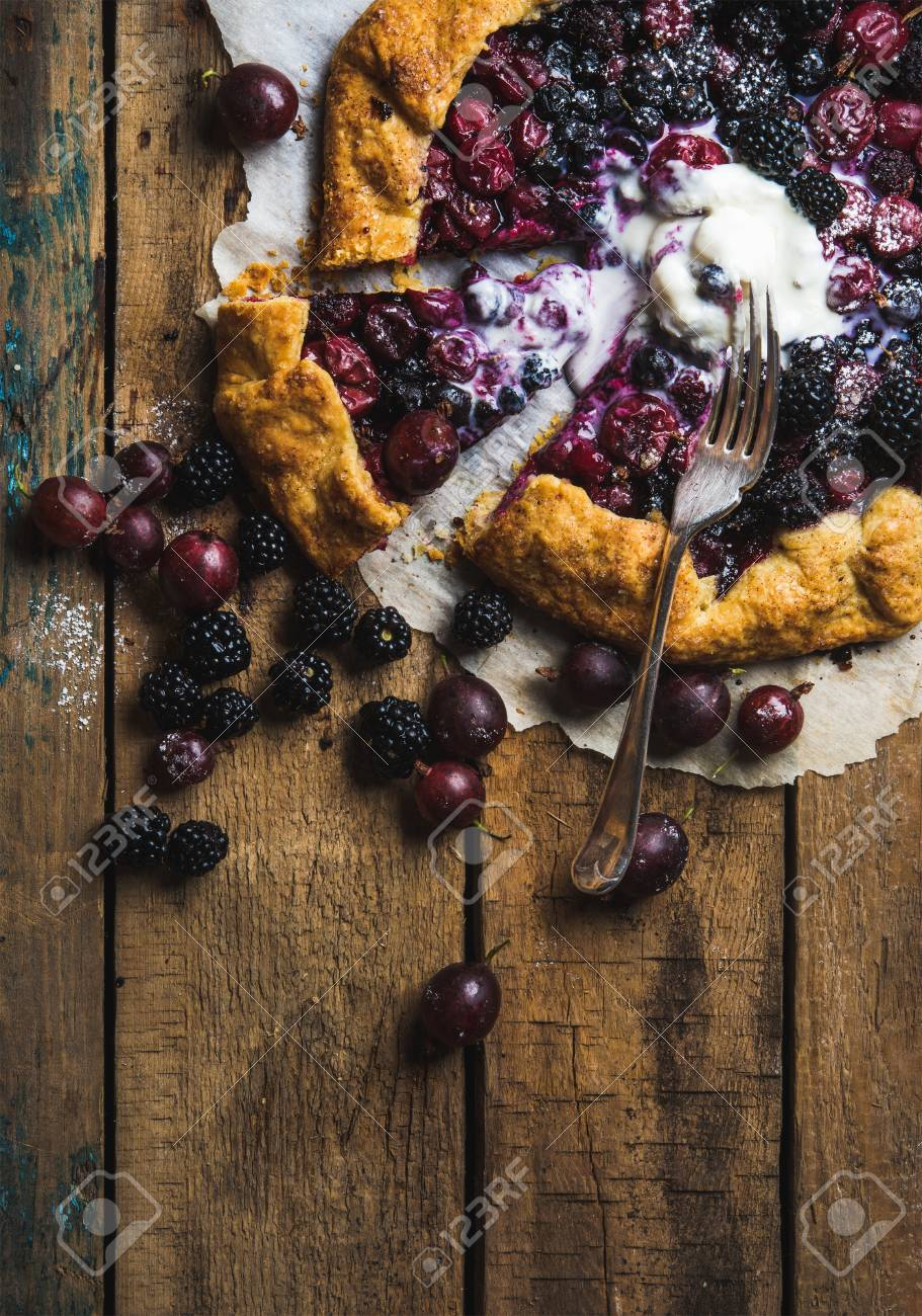 Homemade Garden Berry Galetta Or Crostata Sweet Pie With Melted ...