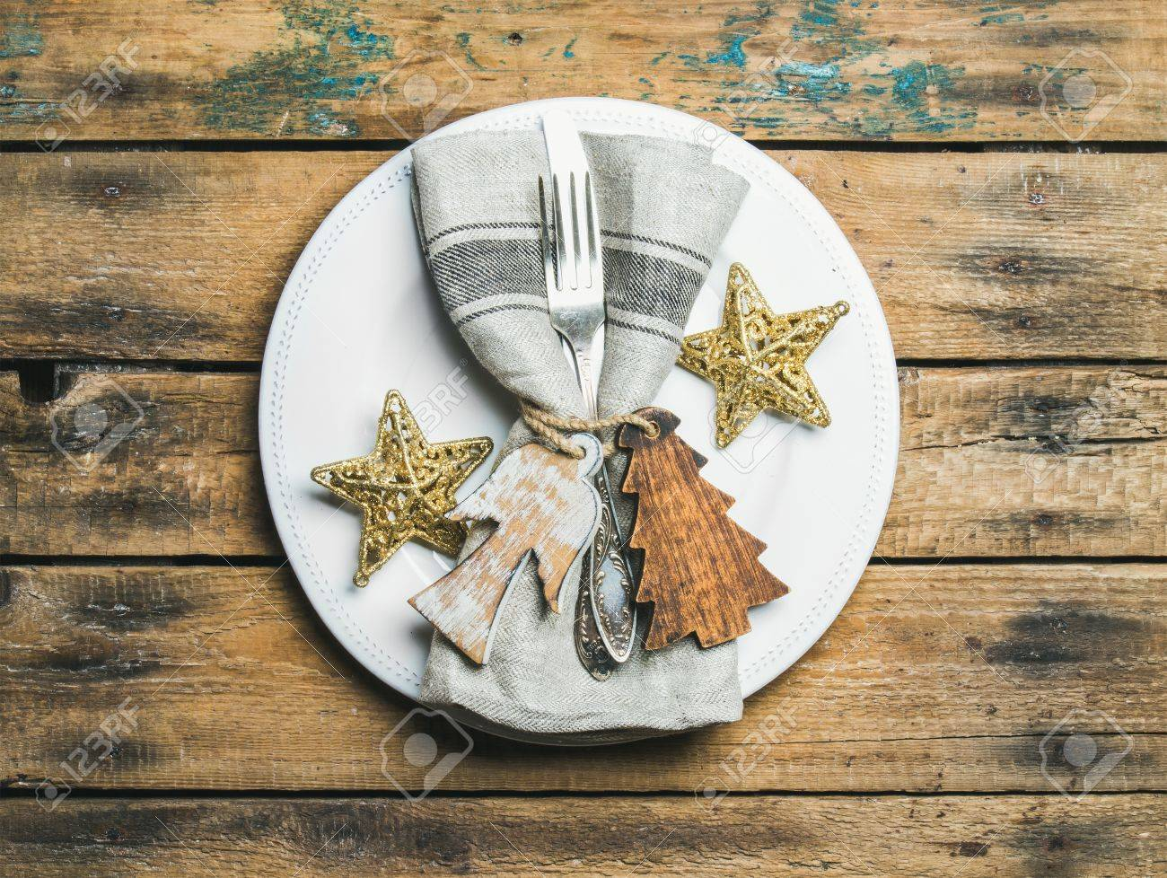 Christmas Or New Year Holiday Rustic Table Setting White Plate Stock Photo Picture And Royalty Free Image Image 67397353