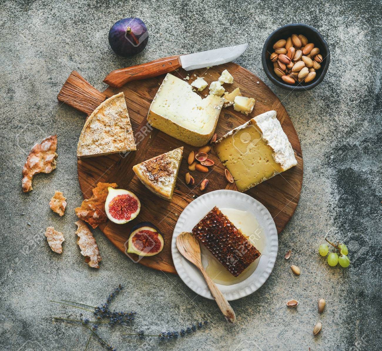 Flat Lay Of Cheese Platter With Cheese Assortment Figs Honey Stock Photo Picture And Royalty Free Image Image 90342987