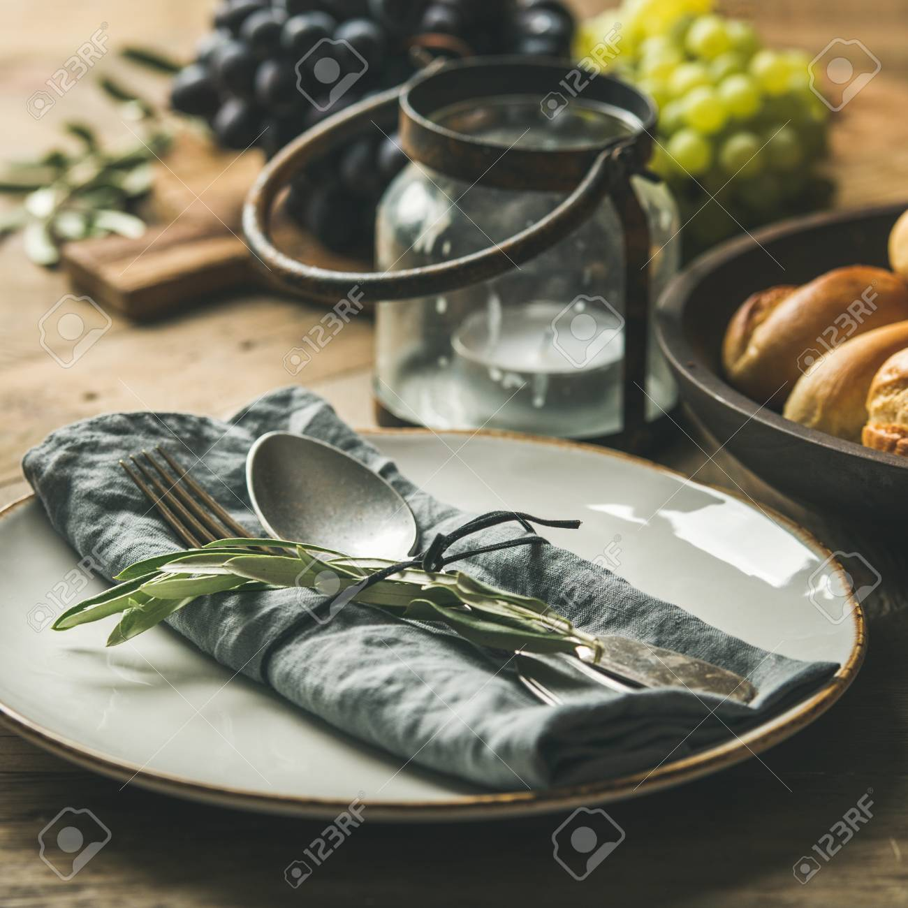 Fall Holiday Table Party Decoration Setting Plate With Linen Stock Photo Picture And Royalty Free Image Image 106208223