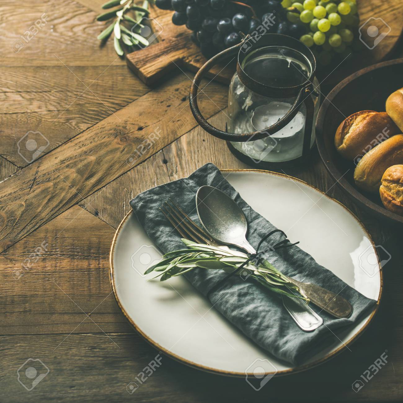 Fall Holiday Table Decoration Setting Plate With Linen Napkin Stock Photo Picture And Royalty Free Image Image 107245651