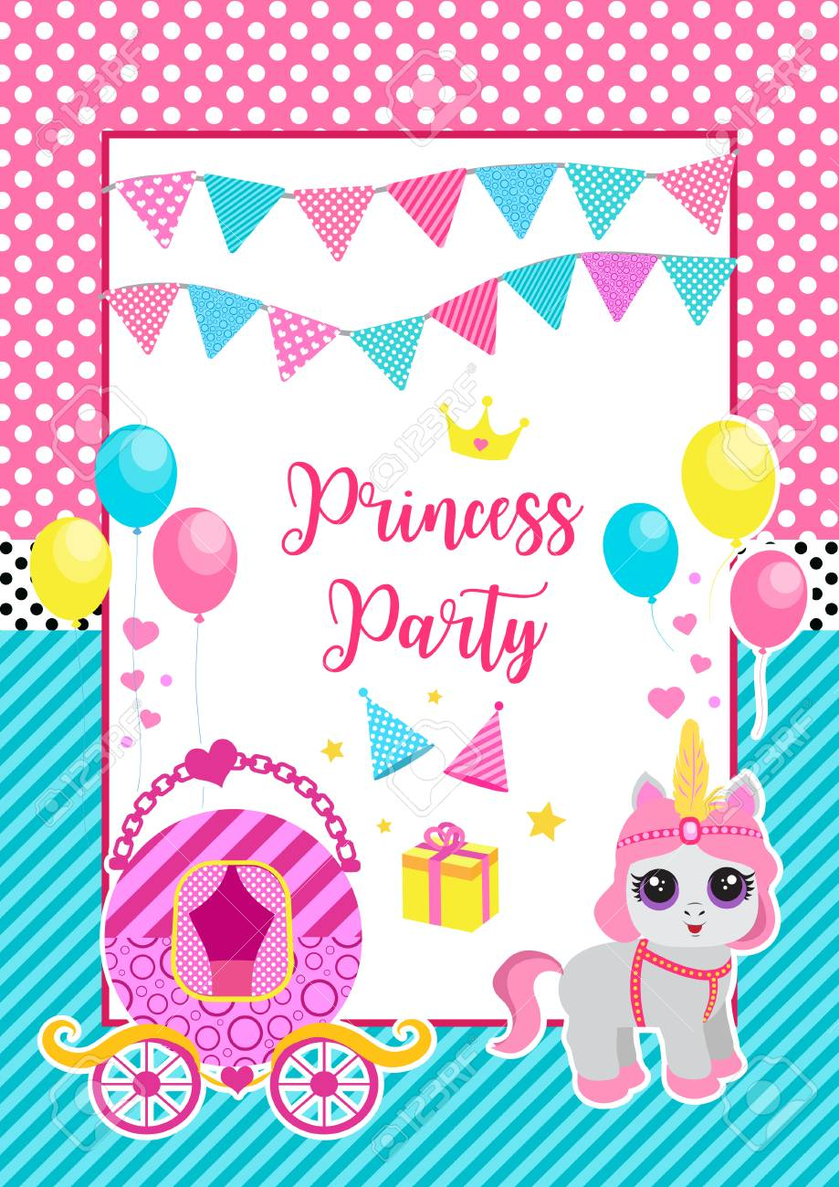 Happy Birthday Greeting Or Invitation Card For A Little Princess